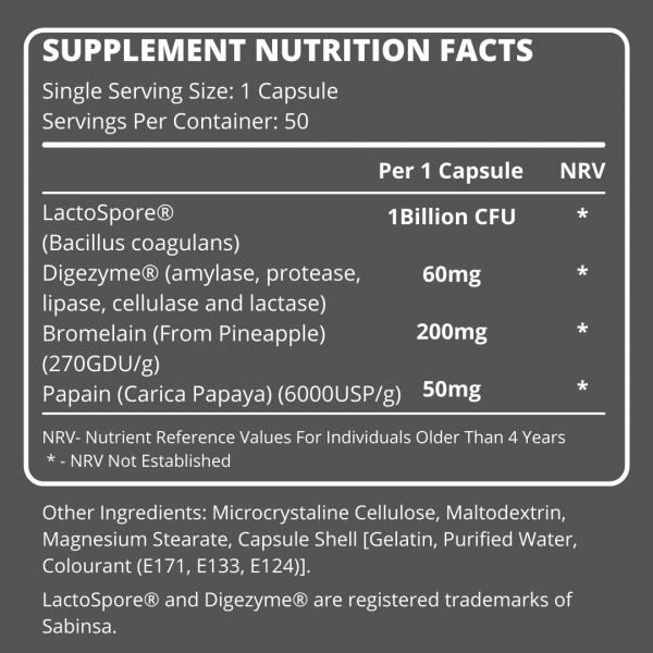 SSA Superior Probiotic Facts Panel